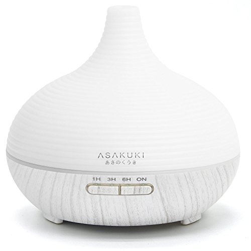 ASAKUKI 300ML Premium, Essential Oil Diffuser, Quiet 5-In-1 Humidifier, Natural Home Fragrance Diffuser with 7 LED Color Changing Light and Easy to Clean ()