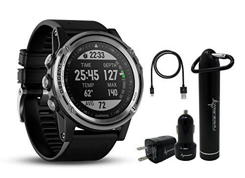 (Garmin Descent MK1 Versatile Dive Computer with Surface GPS and Multisport Features and Wearable4U Ultimate Power Pack Bundle (Silver Sapphire with Black Band))