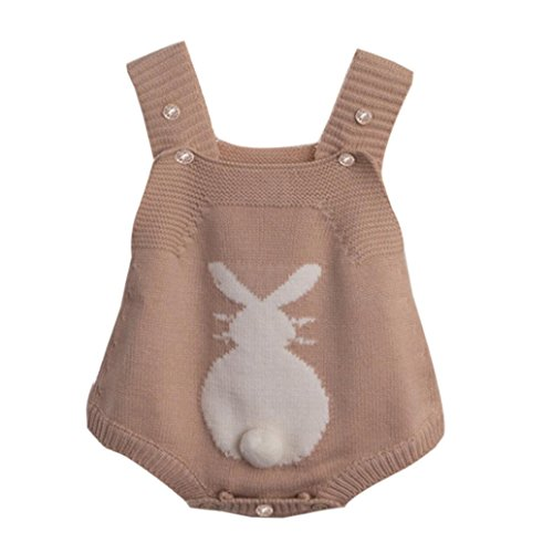Winsummer Baby Boy Girl Rabbit Romper Newborn Knitted Bunny Jumpsuit Outfit Easter Clothes Props Costume (3-6M, Brown)