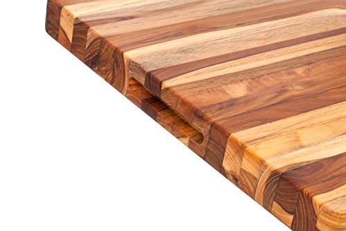 : Teakhaus Teak Wood Cutting Board - More Durable than Bamboo -Rectangle Sustainable Wooden Carving Board with Hand Grip  Large (20 x 15 x 1.5 Inch)
