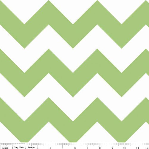 Chevrons Large Sized Green White Fabric Three Yards (2.7m) C330-30 Green