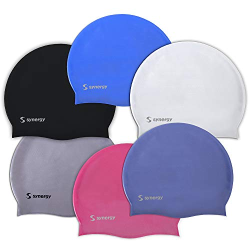 Synergy Silicone Swim Caps 3-Pack (Black-Silver-White SL 3-Pack)