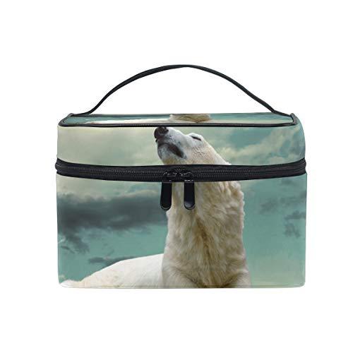 Makeup Bag Cosmetic Storage Bag Animals Bears Polar Sky Clouds Paws Portable -