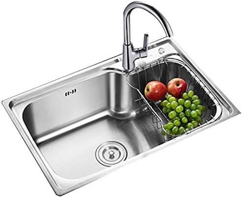 流し台シンク クラシックなステンレス製キッチン 野菜流し レストランの大容量野菜と果物の洗浄テーブル 洗面器用蛇口セット (Color : Gray, Size : 65*43cm)