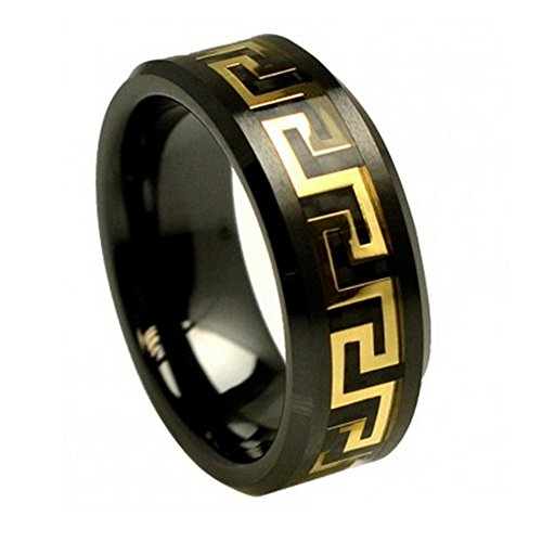 FREE ENGRAVING -8MM Black Ceramic Wedding Band Ring Yellow Gold Plated Greek Key Over Black Carbon Fiber Inlay (8)