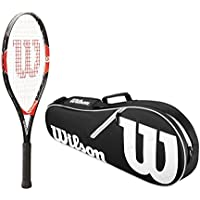 fan products of Wilson Roger Federer Boy's Pre-Strung Junior Black/Red Tennis Racquet Kit or Set Bundled with a Junior Tennis Bag Bundle (Perfect for Kids Ages 5-10)