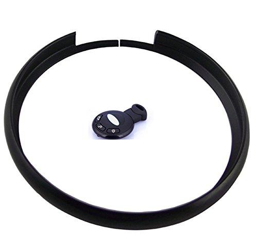 KEMANI Aluminum Finish Smart Key Fob Replacement Protective Ring For Mini Cooper JCW R55 R56 R57 R58 R59 R60 Key Fob Multi color (Black)