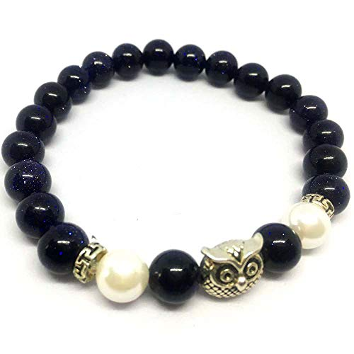 SEY 8mm Blue Sandstone Lava Bracelet Diffuser Essential Oil with Owl for Women Girls Gift (Owl Beaded Bracelets)