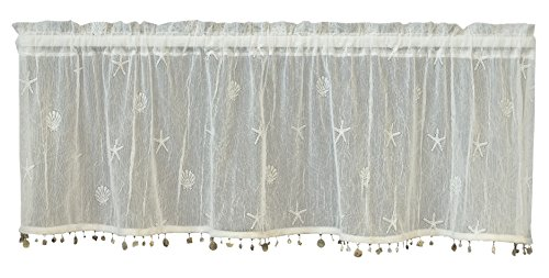 (Heritage Lace Sand Shell Valance with Trim, 45 by 15-Inch, White)