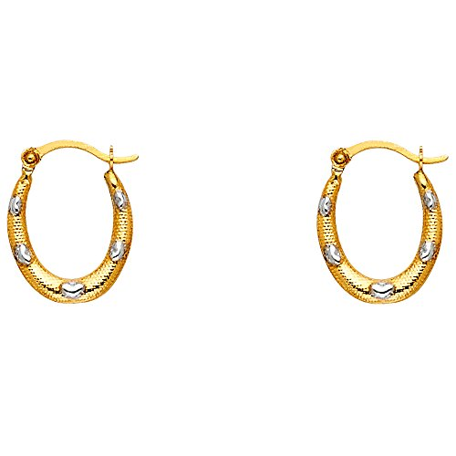 14k Two Tone Gold Heart Pattern Oval Hoop Earrings (12 x ()