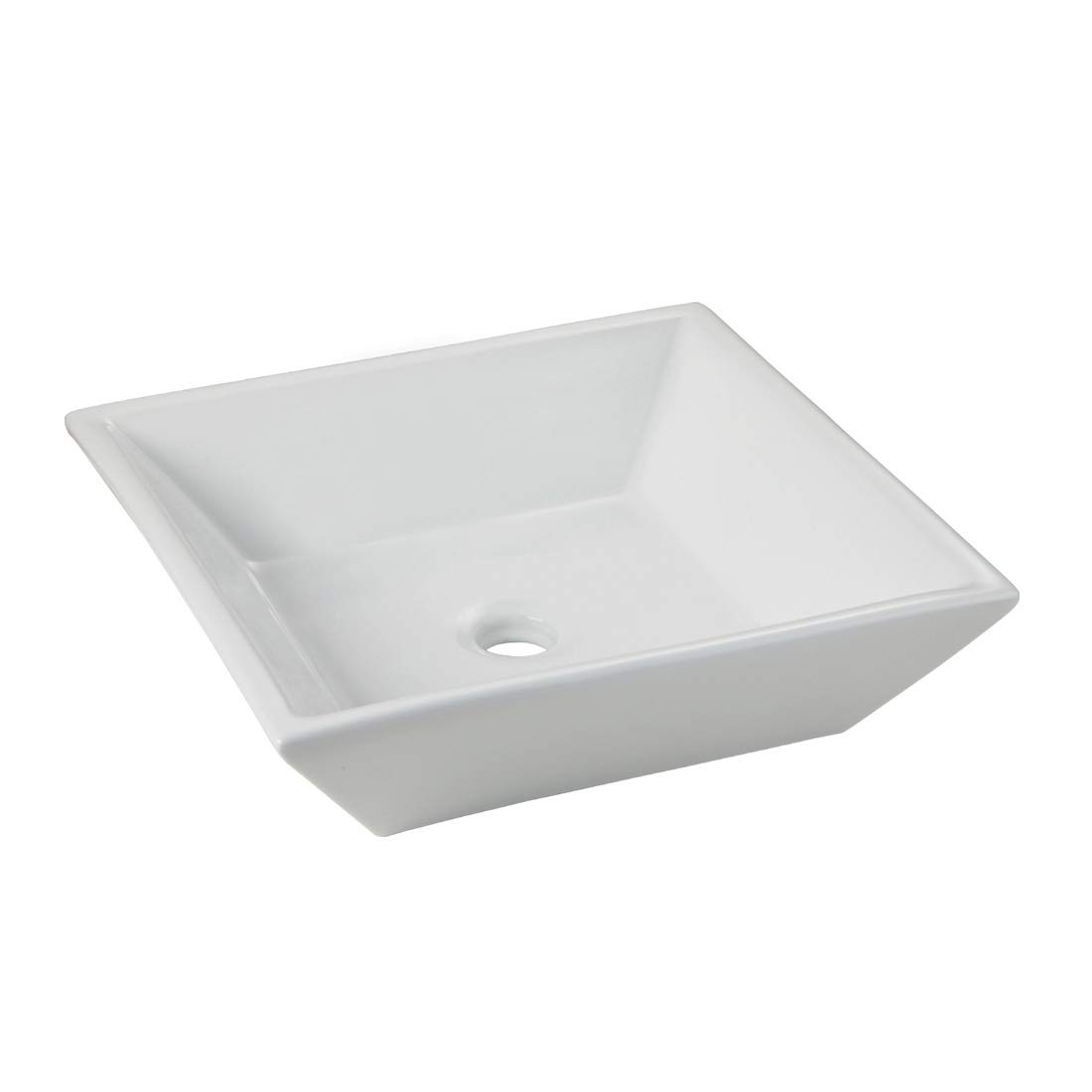 WinZo WZ6079 Square Bathroom Vessel Sink,White Porcelain Ceramic Art Basin Countertop Vanity Lavatory