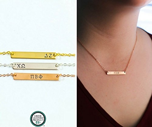 Sorority Sister Gift Necklace - DII - Personalized Silver Rose Gold Bar - Custom Greek Letters - 33mm x 5mm - Alpha Delta Gamma Beta - Delta Gamma Theta