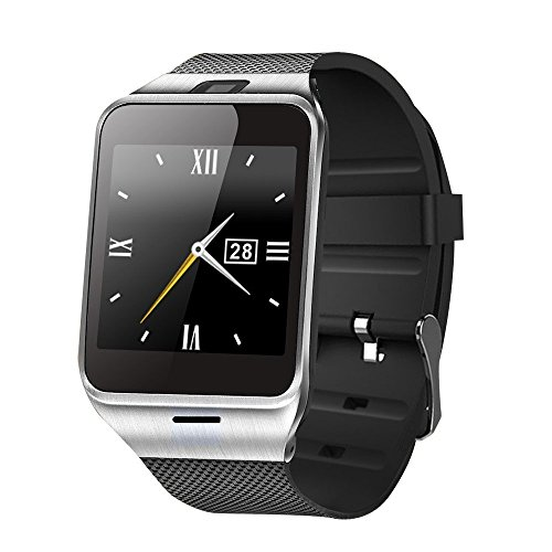 - TUFEN GV18 Bluetooth Smart Watch HD Touch Screen Support Micro SIM & TF/SD Card, Answer Calls & Check Messages Notifier Pedometer and Camera for Android iOS Phone - Black