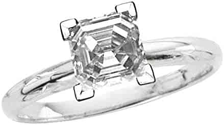 bbamjewelry Certified 4-Prong Basket Asscher Cut Real Moissanite Stud Earrings In 14K Rose Gold Plated