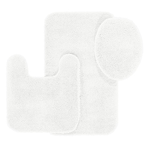 Bathroom Rugs Set, Maples Rugs [Made in USA][Cloud Bath] 3 Piece Non Slip Bath Rug and Mats Sets for Kitchen, Shower, and Toilet - Arctic White Cloud White Area Rug