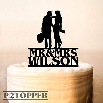 Decoración para tarta de boda, silueta de hombre y mujer con ...