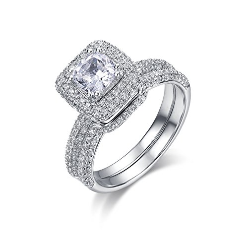 g Set 6.5mm 1ct Cushion Cut Simulated Diamond Rhodium Plated Sterling Silver Cubic Zirconia CZ Halo Engagement Ring and Wedding Ring, Bridal Ring Set (6.5) (Pave Wedding Ring Sets)