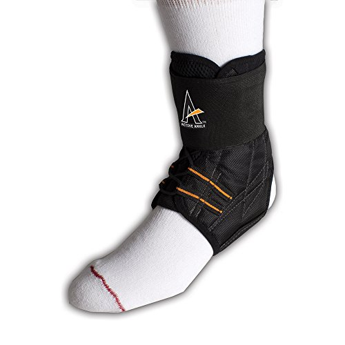 Active Ankle Prolacer Lace-up Ankle Brace For Injured Ankle Protection and Sprain Support, M, Black