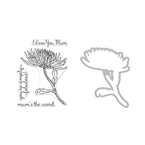 Hero Arts Clear Stamps and Frame Cuts Die Combo, Hero Florals Mum Stem by Hero Arts
