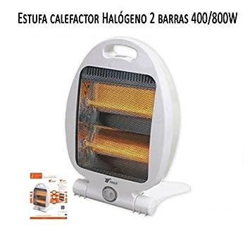 Calefactor Estufa 2 tubos de cuarzo 800W. Calefactor Calentador Radiador Halogeno Calor hogar: Amazon.es: Electrónica