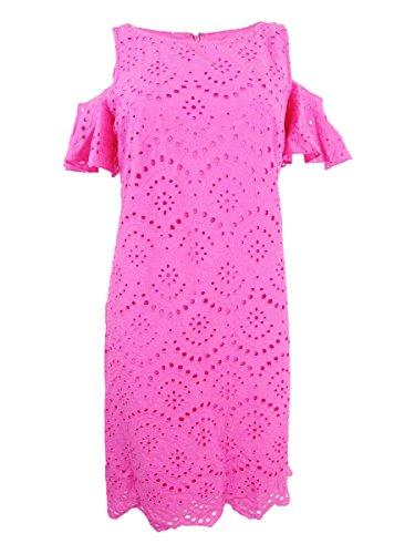 Jessica Howard Womens Eyelet Cold-Shoulder Special Occasion Dress Pink 16 (Jessica Howard Special Occasion Dresses)