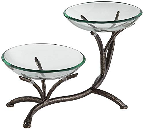 Kensington Hill Quinton 2-Tier Metal Bowl Stand with Glass Bowls