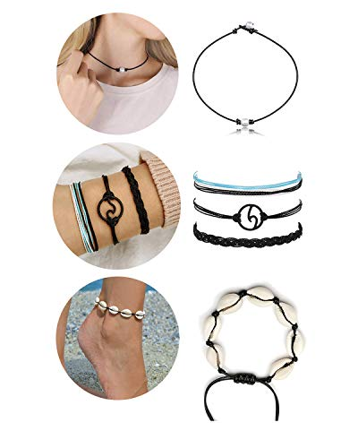 - choice of all 7Pcs Pearl Choker Necklace Surfer Wave Bracelet Turtle Seashell Anklet Boho Jewellery Set (B)