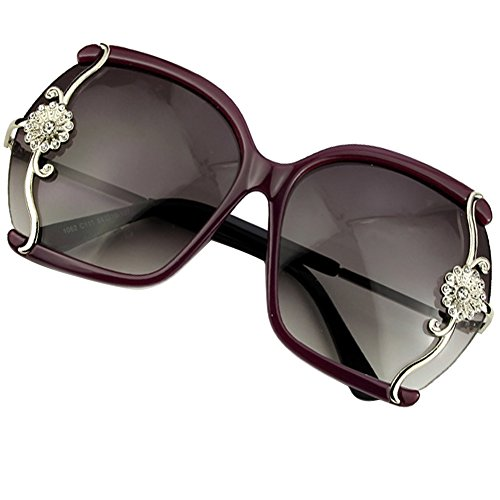 Sumery Women Semi-Rimless Fashion Sunglasses Flowers Decoration 4PCS (Purple, - Perreira Paul
