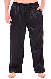 Del Rossa Men\'s Satin Pajama Pants, Long Pj Bottoms, Large Black (A0757BLKLG)