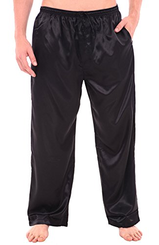 Alexander Del Rossa Mens Satin Pajama Pants, Long Pj Bottoms, Large Black (A0757BLKLG) ()