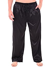 Mens Satin Solid Color Pajama Pants, Long Pj Bottoms