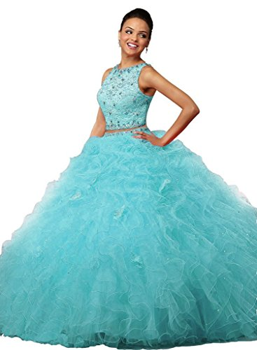 Quinceanera Spitzen Beaded Dresses Pieces Ruffles Fanciest Ball Kleider Blue Two Damen Purple 8UwwEqB
