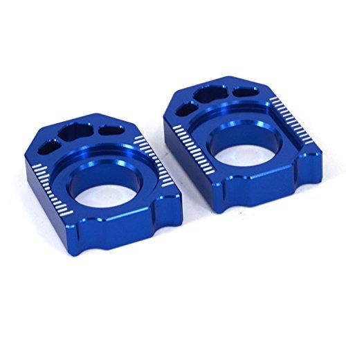 Rear Yz125 Yamaha (JFG RACING CNC Rear Axle Blocks Chain Adjuster For Yamaha YZ125 YZ250 02-16 YZ250F 02-08 YZ250X 16 YZ250FX 15-16 YZ450F 03-08 WR250F 02-15 WR450F 04-15 WR250R WR250X 07-16)