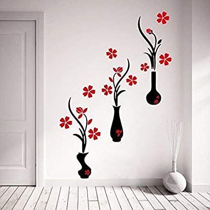 Decor Kafe Red and Black Flower Pots Wall Sticker (PVC Vinyl Film, 107.01 cm x 124.99 cm x 0.99 cm)
