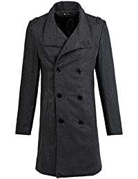 uxcell Men Winter Single Breasted Slant Pocket Split Back Casual Long Peacoat