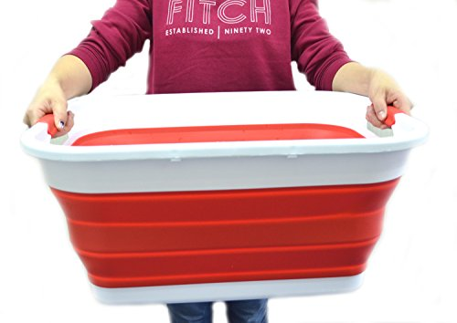 SAMMART Collapsible Plastic Laundry Basket - Foldable Pop Up Storage Container/Organizer - Portable Washing Tub - Space Saving Hamper/Basket (Red)