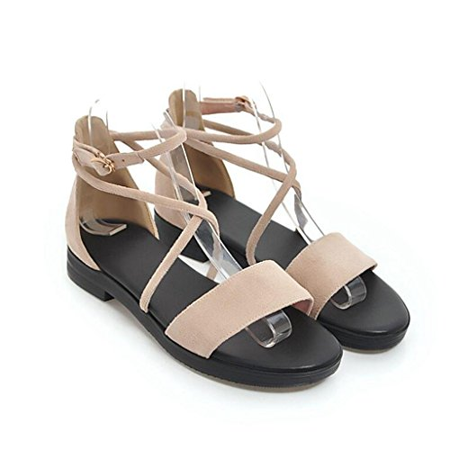Sandals Summer Black/Apricot/Pink PU Frosted Open-Toed Female Non-Slip Rubber Sole Flats Junior High School Students Flat Shoes Women's Shoes Apricot vjvp23I8Fw