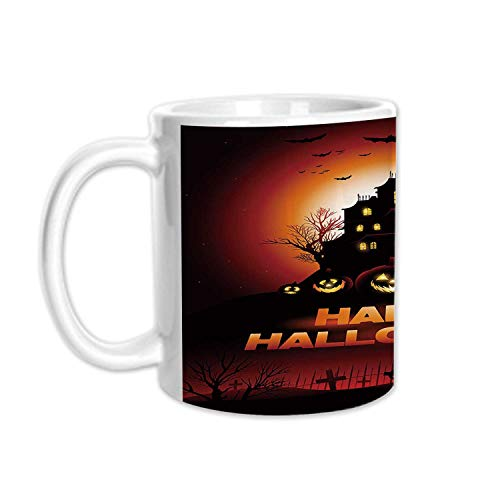 Halloween Stylish White Printed Mug,Happy Halloween Haunted House Flying Bats Scary Looking Pumpkins Cemetery Decorative for Living Room Bedroom,3.1
