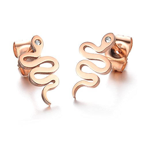 Aegean Jewelry Titanium Stainless Steel Lady's Charming Snake Stud Earring with a Gift Box and a Free Small -