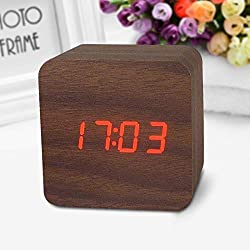Voice Alarm Clock - Wooden Led Digital Alarm Clock Voice Activated - Bedrooms For Insignia Blue Backlight Control