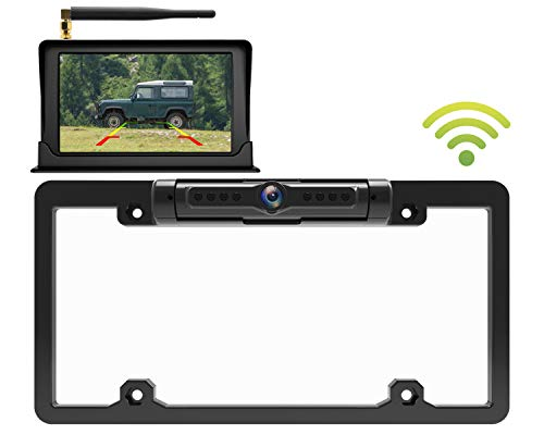 Calmoor License Plate Wireless Back-up Camera, Universal Wireless Camera, HD 170 Degrees Angle View, IP69K Waterproof Night Vision, with 5