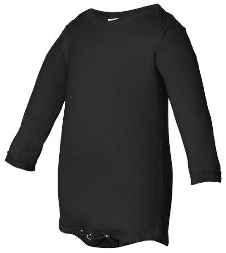(Rabbit Skins Infant Baby Rib Lap Shoulder Long Sleeve Bodysuit (Black) (6))