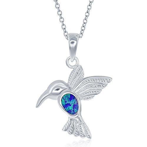 Sterling Pendant Hummingbird (Sterling Silver Created Blue Opal Hummingbird Pendant with 18