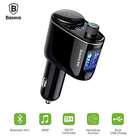 Wireless Bluetooth Car Kit FM Transmitter Hands Free Calling Dual USB For iPhone