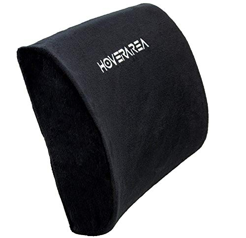 Lumbar Support Pillow Cushion, HOVERAREA Memory Foam Lower Back Pain Lumbar Pillow for Car, Office Chair - Improve Your Posture, Soft & Firm Lumbar Cushion with Adjustable Straps by HOVERAREA