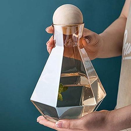 Jarra de cristal de borosilicato, jarra, hervidor de mesa esférico, tapón de corcho, elegante botella de agua diamante de 1,2 l, sin escala, para whisky, agua fría/caliente, zumos de fruta