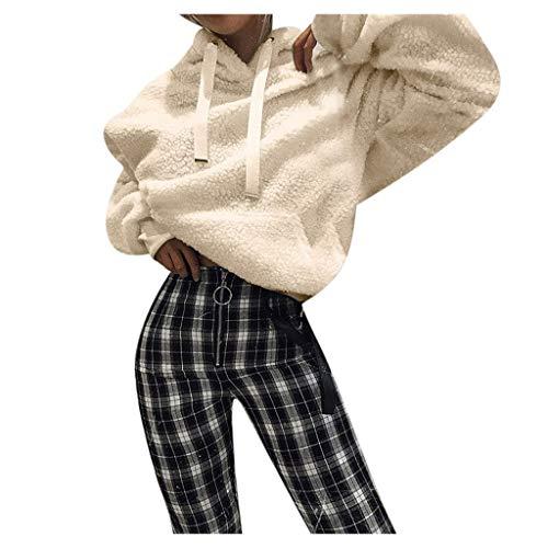 Screen Fleece Sweatshirts - Xinantime Womens Blouse Top Long Sleeve Hooded Fleece Sweatshirt Warm Fuzzy Hoodie Pullover with Pocket Beige