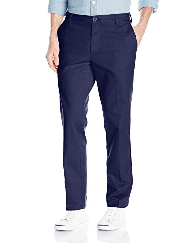 - IZOD Men's Flat Front Slim Fit Performance Stretch Chino Pant, Navy, 34W x 29L