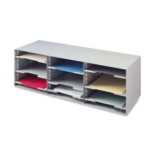 Buddy Products 12 Compartment Sorting Rack, Steel, 11.5 x 10.25 x 32.5 Inches, Platinum (1112-32) (Organizer Literature Compartment Stackable)