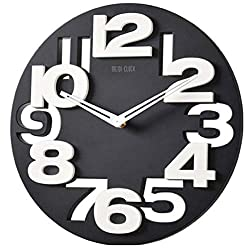 SUPVOX 3D Big Digital Modern Contemporary Home Office Decor Round Wall Clock (Black)